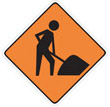 Roadwork Ahead -The Road Work Ahead sign is used to alert motorists of road work or construction ahead